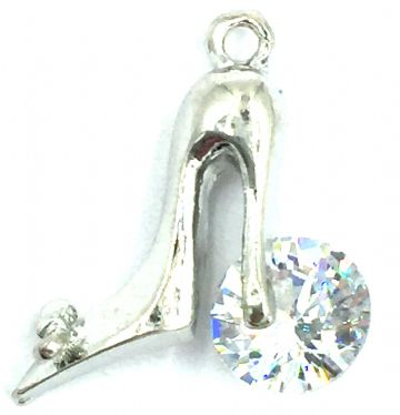 Crystal charm / pendant -High heel shoe with crystal 16mm x 17mm - rhodium